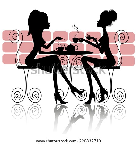 vector silhouette of girls at a table in a cafe - stock vector