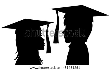 vector silhouette of graduates young man and woman - stock vector