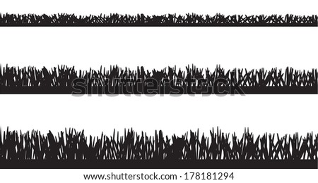Vector silhouette of grass on white background.