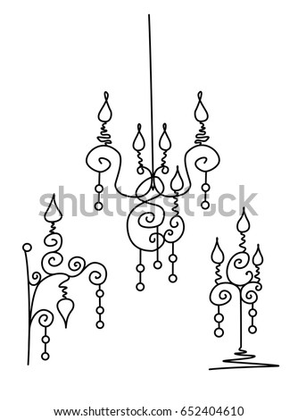 vector silhouette of hand drawn classy chandelier floor lamp and wall lamp set in black