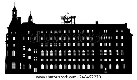 Vector silhouette of Haydarpasa railway terminal in the Asian part of Istanbul, Turkey, This vector is generated from a photo taken in 2007  - stock vector