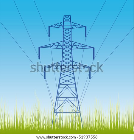 Vector silhouette of high voltage electric line against blue sky - stock vector