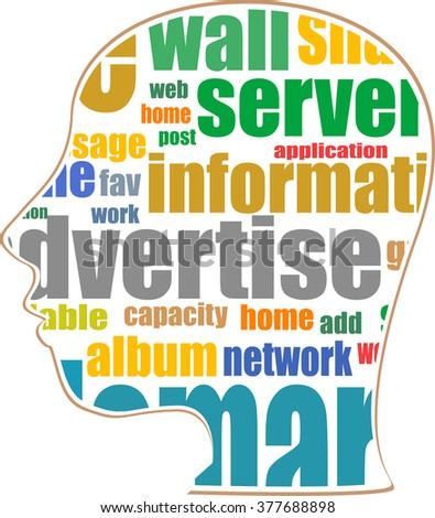 vector silhouette of his head with the words on the topic of social networking - stock vector