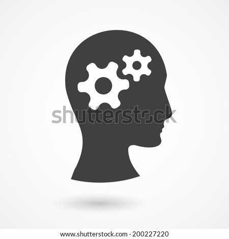 Vector silhouette of human head with gears. Thinking process illustration - stock vector