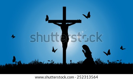 Vector silhouette of Jesus on the cross. - stock vector