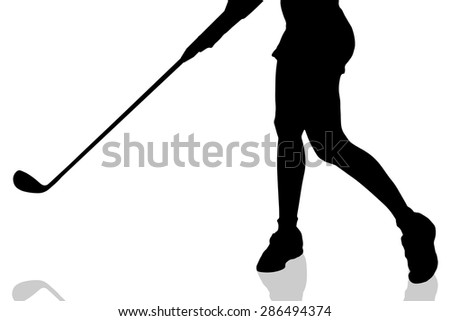 Vector silhouette of legs woman who plays golf. - stock vector