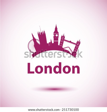 Vector silhouette of London. City skyline. - stock vector