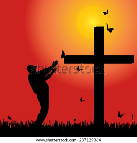 Vector silhouette of man at the cross at sunset.