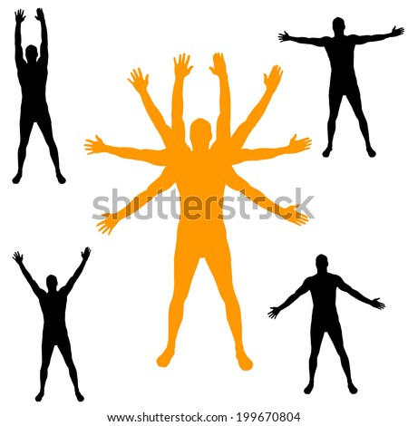 Vector silhouette of man with arms outstretched. - stock vector