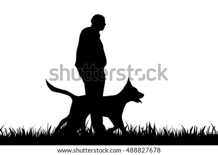 Vector silhouette of man with dog on white background.