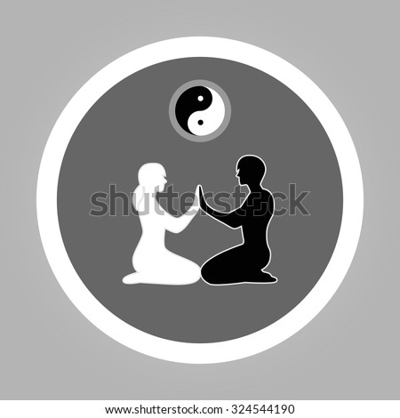 Vector silhouette of meditating couple. Yin-Yang concept. Modern flat vector style. - stock vector