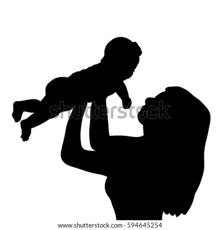 silhouette mother baby vector stock vector 603939716