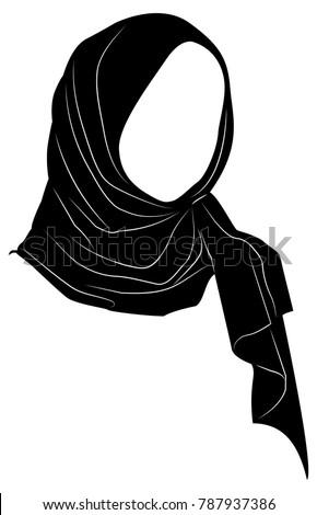 vector silhouette muslim woman hijab arab stock vector