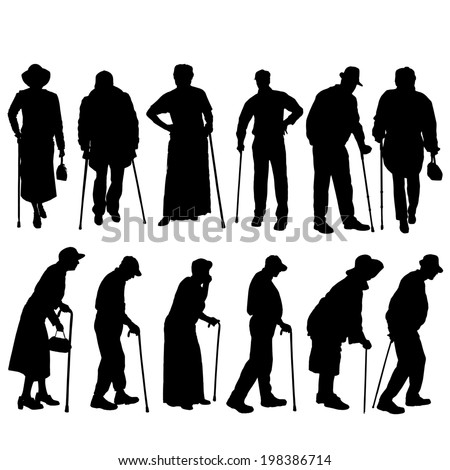 Vector silhouette of old people on white background. - stock vector