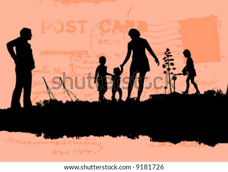 vector silhouette of people - stock vector