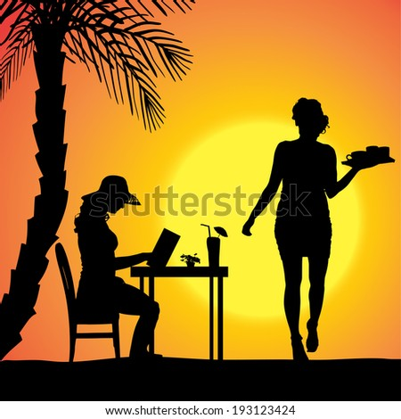 Vector silhouette of people in a beach restaurant at sunset. - stock vector