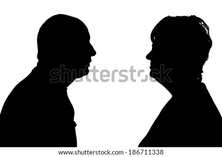 Vector silhouette of people in different situations. - stock vector