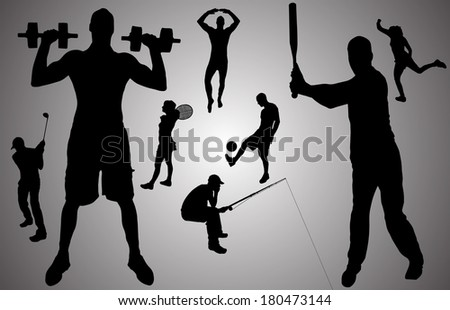 Vector silhouette of people in various sports.  - stock vector