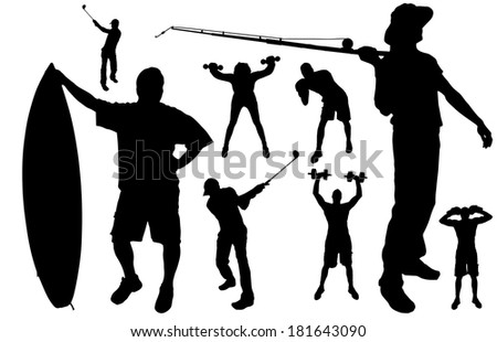 Vector silhouette of people in various sports.