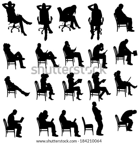 Vector silhouette of people sitting on a white background. - stock vector