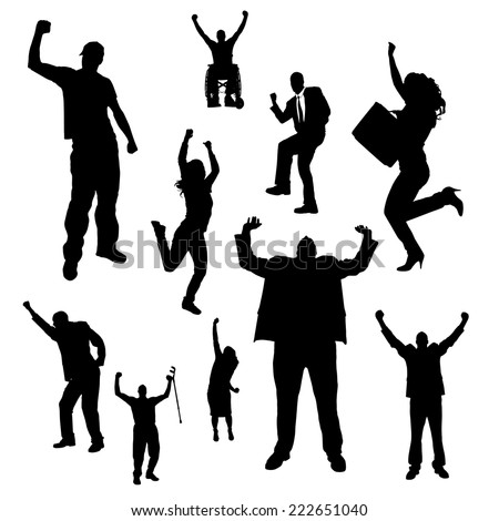 Vector silhouette of people who rejoice white background.