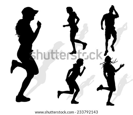 Vector silhouette of people who run on white background.