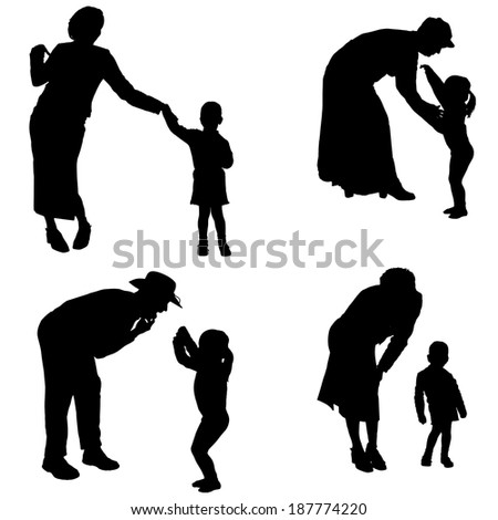 Vector silhouette of people with children in various situations. - stock vector