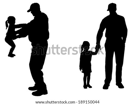 Vector silhouette of people with children in various situations.