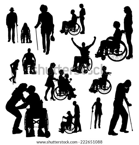 Vector silhouette of people with disabilities a white background. - stock vector