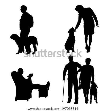 Vector silhouette of people with dog on a white background.  - stock vector