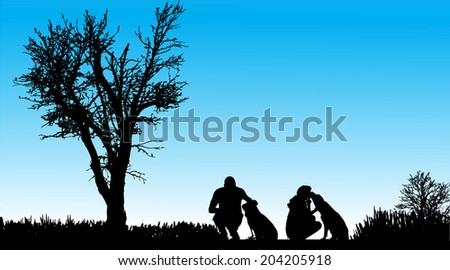 Vector Silhouette of people with dogs in nature. - stock vector