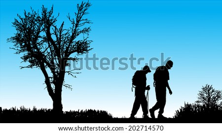 Vector silhouette of people with nordic walking in nature. - stock vector
