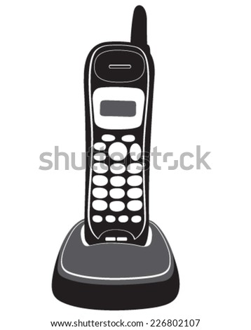 Vector silhouette of phone, mobile phone, cordless phone, telephone, retro phone, cell phone