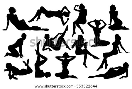 Vector silhouette of pin up girl.    - stock vector