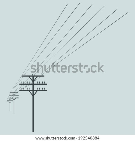 Vector Silhouette of Power Line - stock vector