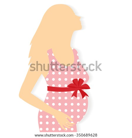 Vector silhouette of pregnant woman.