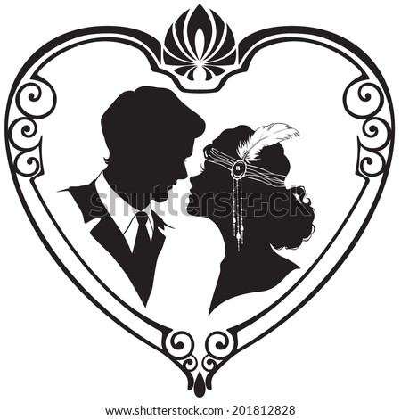 Vector silhouette of retro style couple in the hear frame. Vector illustration - stock vector