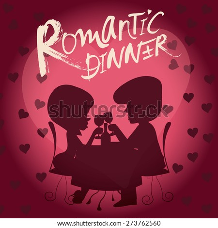 Vector Silhouette of romantic couple in the cafe , Valentine's Day Card - stock vector