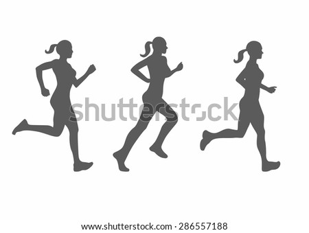 vector silhouette of running woman - stock vector
