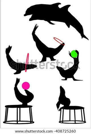 vector silhouette of sea animals
