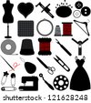 Vector Silhouette of Sewing Tools and Handicraft accessories - stock