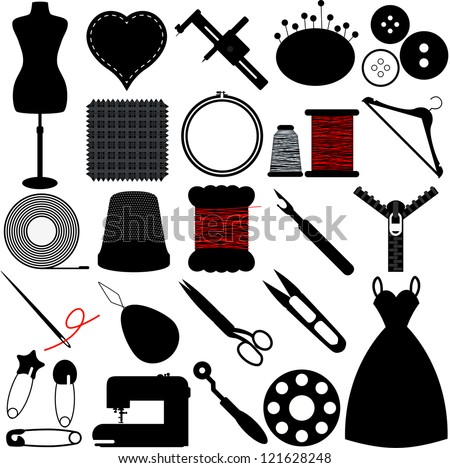Vector Silhouette of Sewing Tools and Handicraft accessories - stock vector