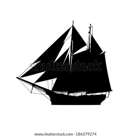 Vector silhouette of ship - stock vector