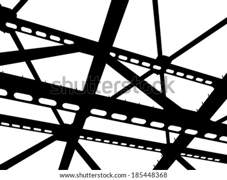 Vector silhouette of steel beams. Fragment construction site. - stock vector