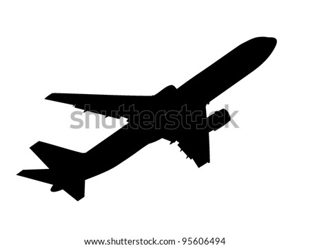 vector silhouette of taking up passenger airplane - stock vector