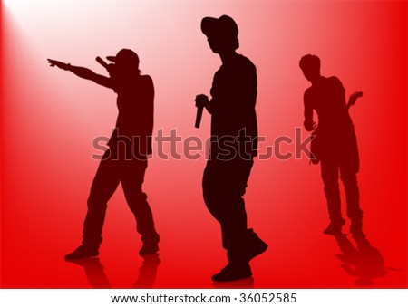 Vector silhouette of the artists of hip hop. A live performance on stage - stock vector