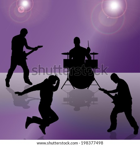 Vector silhouette of the band on a colored background. - stock vector