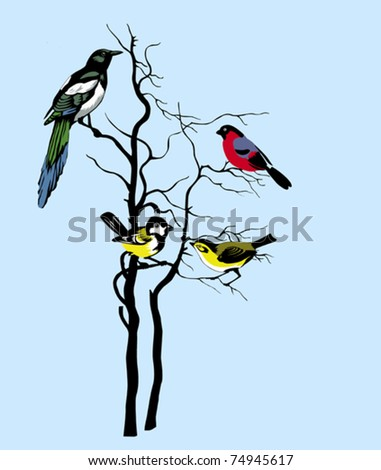 vector silhouette of the birds on tree - stock vector