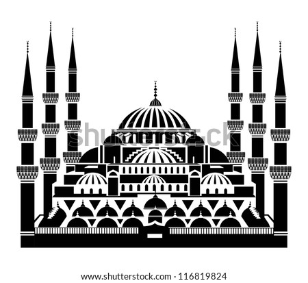 Vector silhouette of The Blue Mosque, Istanbul - stock vector