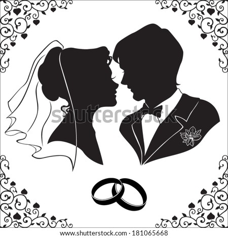 Vector silhouette of the bride and groom with beautiful framed isolated on white background  - stock vector